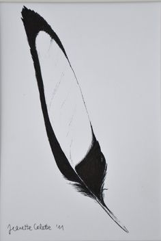 Magpie Feather                                                                                                                                                                                 More Magpie Tattoo, Feather Drawing, Watercolor Feather, Indian Feathers, Bird Feathers, Painting Inspiration, Tattoo Inspiration, Heron Tattoo, Black And White Artwork