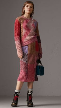 Cashmere-wool Mouliné Patchwork Sweater in Multicolour - Women | Burberry United States