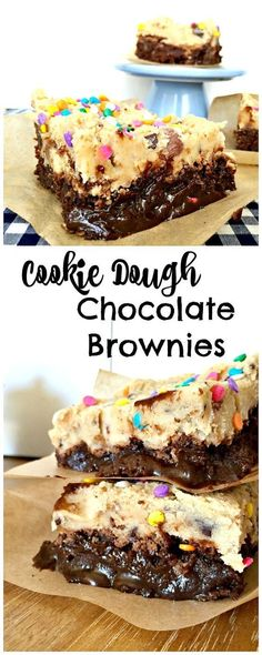 Rich and fun Cookie Dough Chocolate Brownies! Kids will love these (but so will adults). You have to try these! #dessertfoodrecipes