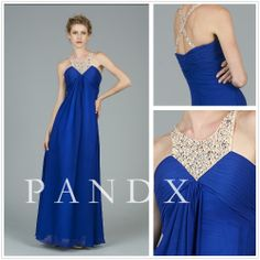Luxury  Crystal sapphire blue Sweetheart Floor-length Chiffon Evening Dress $149.00