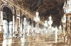 """Cette ouvre a été incluse en 2004 au livre """"Painting Light & Shade"""" by Patricia Seligman avec la notice audesous """"If you wanted to set yourself the most difficult task of all when it comes to painting reflections, then this is the place to go to for mirrors, gilt, and polished marble. The resulting picture is a miracle of observation and controlled painting. The monochrome version, right, shows the pattern of highlights that create a certain movement in the still interior."""""""