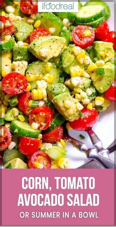Corn Avocado Salad – iFOODreal – Healthy Family Recipes This Corn Avocado Salad Recipe is so tasty, simple and refreshing for summer with fresh off the cob corn, cucumber, tomato, avocado and a hint of lime. Avocado Dessert, Avocado Tomato Salad, Avocado Salad Recipes, Avocado Salat, Egg Salad, Keto Avocado, Avocado Egg, Avocado Toast Healthy, Pasta Salad