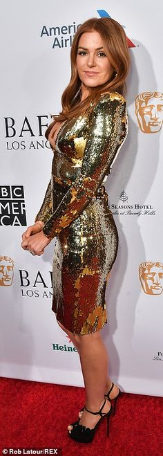 d21330d05 Isla Fisher shines in gold sequin dress at BAFTA tea party