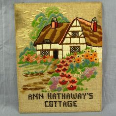 """Ann Hathaway's Cottage Crewel Needlepoint House Vtg Completed 10x13"""" Finished Country Cottages, Needlepoint, Empty, Ann, Embroidery, Store, Pictures, House, Scenery"""