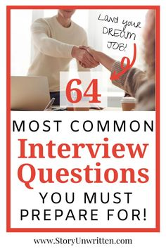 Nail your next job interview with this list of 64 common interview questions you must prepare for to land the job. Tough behavioral questions and more! Leadership Interview Questions, Customer Service Interview Questions, Most Common Interview Questions, Job Interview Preparation, Interview Questions And Answers, Job Interview Tips, Prepare For Interview, Job Interviews, Interview Outfits