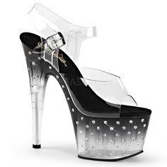 413c4b2868a Pleaser Stardust-708T Platform Sandal With R S Studded Bottoms