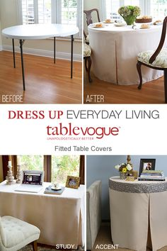 Turn your table into a work of art with Tablevogue -- fitted, washable table covers made with high quality, long-lasting fabric. Cover up an old card table and make it worthy of any celebration or event. No pins, clips or trips, just a no-fuss, stylish design. Shop Tablevogue covers today.