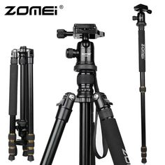 the best New Zomei Aluminum Professional Tripod Monopod + Ball Head For DSLR camera Portable / camera stand / Better than DHL sale Camera Tripod, Slr Camera, Camera Portable, Photo Accessories, Digital Slr, Cool Things To Buy, Stuff To Buy, Camcorder, Consumer Electronics