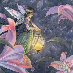 Märchen-Kunstdruck  Garden Fairy Lampe und Lilien