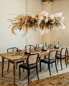 Pampas grass installation of our DREAMS. Who else adores this rustic meets modern tablescape? 😍 Perfect for FALL, don't you think? 🍂Find all the autumnal accents {link in bio! Flower Decorations, Wedding Decorations, Decor Wedding, Wedding Bride, Wedding Venues, Yacht Wedding, Wedding Tables, Dream Wedding, Flower Installation