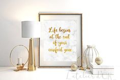 Life begins at the end of your comfort zone Gold by Latelierdor