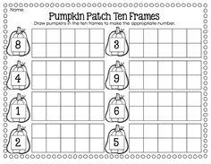 pumpkin patch ten frames first grade