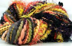 Coral Snake Kitty Grrlz FunctionArt Hand Spun Art Yarn - see all Kitty Grrlz handspun yarns here - http://www.etsy.com/shop/kittygrrlz