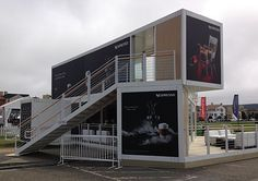 Two uses of shipping containers being used as retail buildings, one on a narrow…