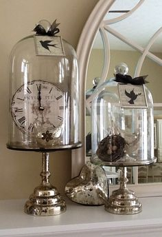 ♔ Let's Decorate, Mercury glass and cloches. Note...the bottoms could be candlestick holders.