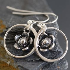 Sterling silver patinaed flower earrings at http://southpawonline.com/products/sterling-silver-flower-earrings