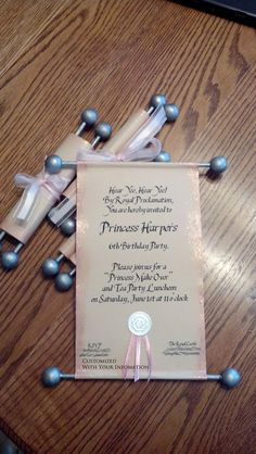 CUSTOM Princess Scroll Invitation by andeeroll on Etsy, $3.00