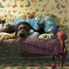 Cute Animal Illustration, Illustration Artists, Illustrations, Dog Couch, Cat Cards, Dog Paintings, Dog Tattoos, Whimsical Art, Dog Art