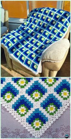 Crochet Mitered Summer Daisy Baby Afghan Pattern-Crochet Mitered Granny Square Blanket Free Patterns