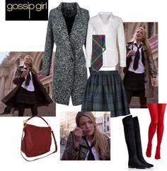 """Gossip Girl 1x01 - Serena school style"" by rossellalola on Polyvore"
