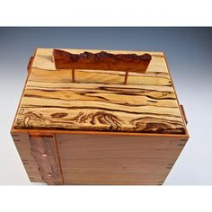 Decorative stash box, cherrywood container with pecan lid, cremation... ($150) ❤ liked on Polyvore featuring home, home decor, lidded urn, dog urns, dog figurines, puppy figurines and dog home decor