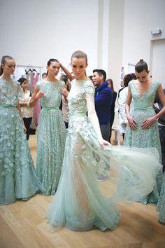 Elie Saab - sea foam bridesmaids