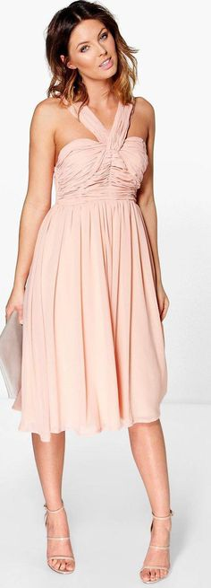 Rowa Pleated Strappy Midi Skater Dress - Dresses  - Street Style, Fashion Looks And Outfit Ideas For Spring And Summer 2017