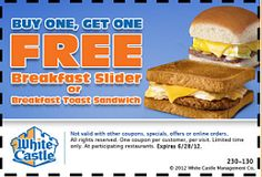 White Castle: BOGO FREE Breakfast Slider or Toast Sandwich Coupon on http://hunt4freebies.com/coupons