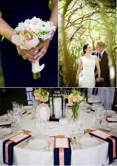 Navy/Peach Victorian inspired Cape Cod wedding