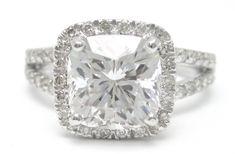 2 Carat Cushion Cut Ring spilt shank | 25ctw CUSHION cut split shank style diamond engagement ring 14k ...