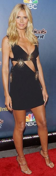 who made Heidi Klum's sandals and black cut out dress?