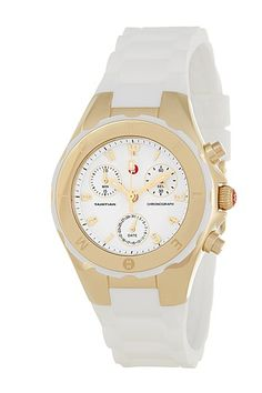 Women's Tahitian Jelly Bean Gold Plated White Watch by Michele on @HauteLook