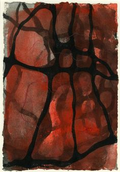 Untitled; black web over red and grey. 2002 Watercolour in red, black and grey with red crayon overdrawing- IAN MCKEEVER