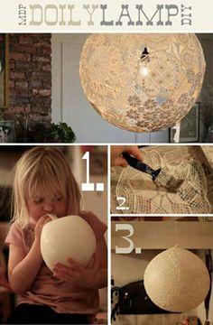Lampe aus Spitzendeckchen