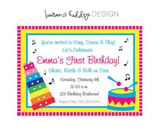 Making Music Blue Green Photo Birthday Party Invitations for boy