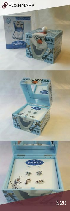 "Disney Frozen Keepsake Box (Olaf) Olaf musical keepsake box.  Olaf ear stud set included.  Plays ""Do you want to build a snowman"".  Brand new, in original packaging, never used. Disney Jewelry Earrings"