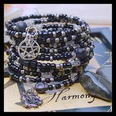 Memory Wire Wrap Bracelet Supernatural Pentagram Gothic Glass Seed Beads ,  10 Loops Hipster, , Gypsy ,Handmade By: Von'Dez by tranquilityy on Etsy https://www.etsy.com/listing/215881255/memory-wire-wrap-bracelet-supernatural