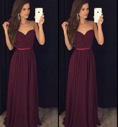 Vestido de Festa, Burgundy Prom Dresses, Simple Prom Dress, Chiffon Prom Dress, Long Prom Dresses, Sweetheart Prom Gown