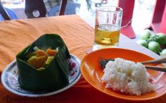 Amok, a lemongrass curry served in a banana leaf bowl, found in Siem Reap, Cambodia
