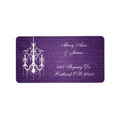 Chandelier Wedding Save the Date Elegant Wedding Address Chandelier Purple Label