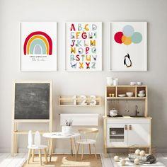 Red personalised rainbow print, Nursery wall art, rainbow poster, baby nursery decor, rainbow room d - Modern Kids Room Wall Art, Nursery Room Decor, Nursery Wall Art, Nursery Prints, Wall Art Prints, Girl Nursery, Animal Nursery, Ikea Baby Nursery, Room Art