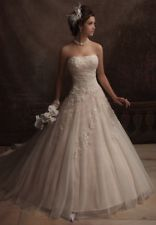 Custom Shallow champagne Tulle Lace Beaded Bridal Wedding Dresses Gowns All Size
