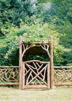 Adding Beauty to Your Garden With an Arbor Rustic Arbor, Wooden Arbor, Rustic Fence, Wooden Gates, Diy Garden Decor, Garden Art, Diy Arbour, Twig Furniture, Furniture Stores