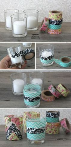 diy projekte Washi Tape DIY Projects Lots of Ideas amp; Including these washi tape candle votives from I spy diy. Craft Gifts, Diy Gifts, Cinta Washi, I Spy Diy, Fun Diy, Diy Y Manualidades, Washi Tape Crafts, Washi Tapes, Creation Deco