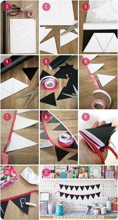 Con cartulina y papel puedes crear unos hermosos banderines para adornar y darle un toque divertidos a las #FiestasInfantiles