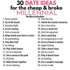 30 Date Ideas For The Cheap & Broke Millennial
