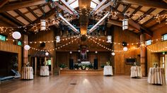 Our Great Hall is a spacious hall designed in the manner of a Native American longhouse and can be used for indoor ceremonies or dancing after-parties. #destinationwedding #WeekendWedding #FamilyStyleWedding Photo © Lightphoria