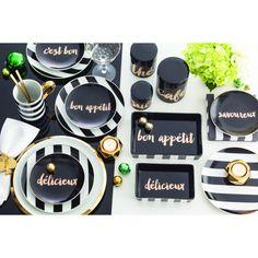 """Soirée Noire Black/Gold French Appetizer Plates Set of 4 6"""" - Rosanna   Inter-Continental Mercantile"""