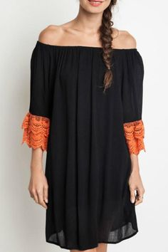 Off the shoulder black dress with orange lace detailed sleeves.   Orange Spirit Dress  by Umgee USA. Clothing - Dresses - Casual Dallas, Texas