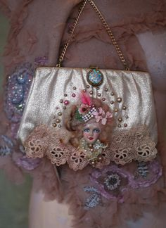 1700--revamped vintage gold lame clutch, wearable art, shabby chic, little romantic bag,with antique lace, hand beading,